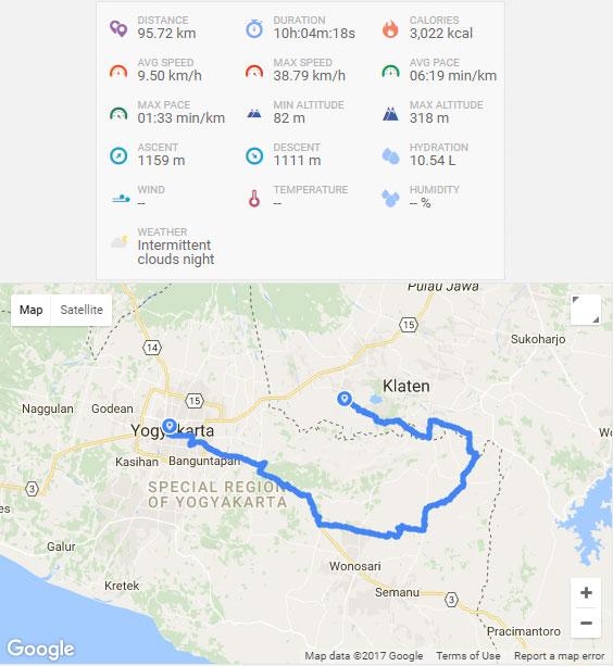 rute perjalanan dari kota yogyakarta menuju curug bangunsari semin via google maps