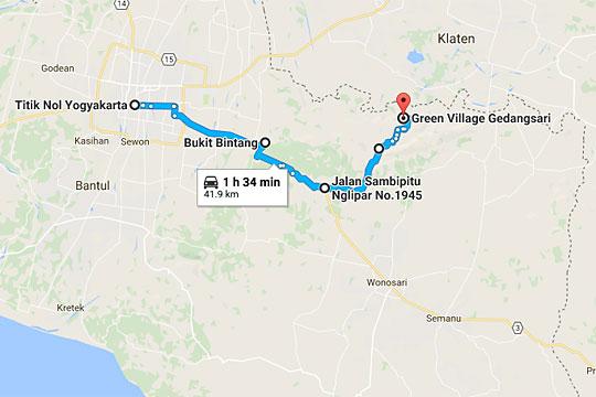 peta arah ke obyek wisata green village gedangsari gunungkidul dari jalan maliboro atau tugu yogyakarta