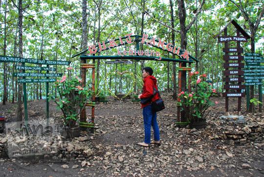 pintu masuk kayu hutan instagram di Bukit Panguk Kediwung Mangunan Dlingo Bantul Yogyakarta