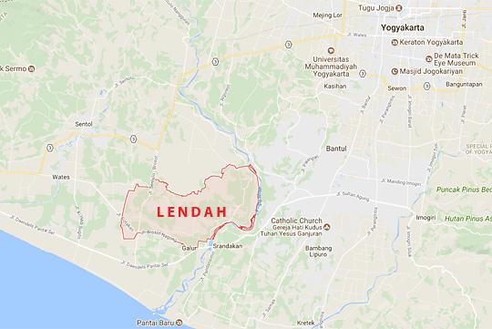 peta wilayah kecamatan Lendah desa dan objek wisata di kabupaten Kulon Progo DI Yogyakarta