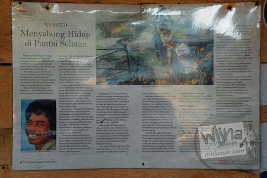 profil Warsito pionir gondola Pantai Timang Gunungkidul Yogyakarta yang dimuat di tabloid Utusan