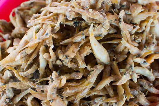 penjual ikan kecil tepung goreng di kios pantai glagah kulon progo yogyakarta