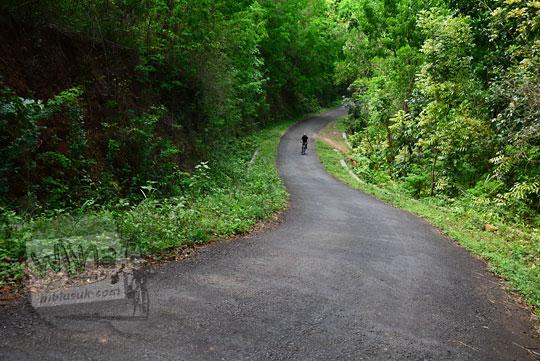 suasana pemandangan di ruas jalan tanjakan panjang ngliseng dlingo bantul yogyakarta yang tembus ke puncak becici