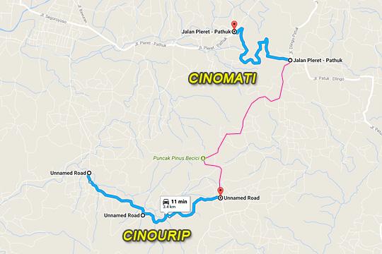 peta lokasi ruas jalan alternatif penuh tanjakan cinomati dan cinourip di bantul yogyakarta