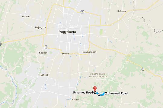 peta medan ruas jalur tanjakan cinourip di bantul yogyakarta