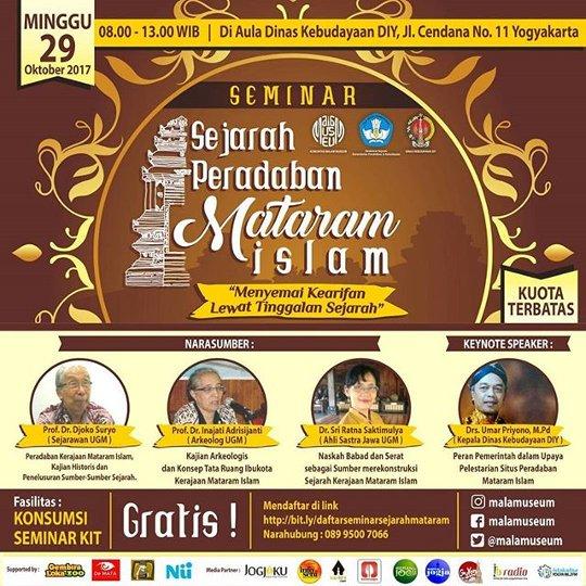 poster seminar sejarah peradaban mataram islam yang diadakan oleh komunitas malam museum