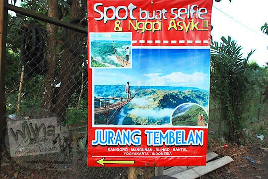 spanduk poster obyek wisata Jurang Tembelan Kanigoro Mangunan Dlingo Yogyakarta
