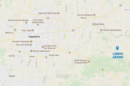 peta lokasi rute termudah singkat menuju dusun jembatan gantung Lemah Abang Gayamharjo Prambanan Yogyakarta