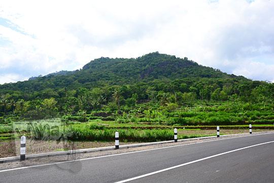 pemandangan bukit karst penuh tanaman hijau pohon di pinggir ruas jalan alternatif baru yang menghubungkan desa ngoro-oro patuk gunungkidul dengan desa lemah abang gayamharjo prambanan sleman