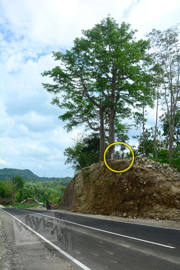 keberadaan dan kondisi situs watu gajah dan dua pohon randu alas berusia ratusan tahun di ruas jalan baru menuju jembatan Lemah Abang Yogyakarta di dekat gapura dusun Gembyong