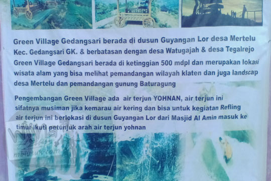 papan informasi air terjun yohnan di desa mertelu gedangsari gunungkidul yogyakarta pada zaman dulu mei 2017