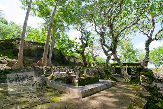 suasana teduh pohon kamboja di makam gunung kelir pleret