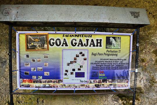 papan informasi denah nama tempat ruangan di dalam goa gajah di mangunan dlingo bantul