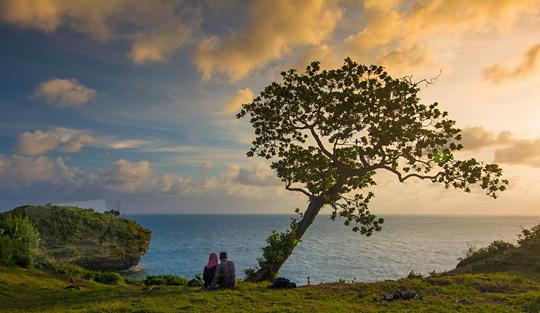 foto orang cowok cewek pacaran di bawah pohon ketapang yang tumbuh di tebing pantai kesirat gunungkidul yogyakarta pada zaman dulu agustus 2018
