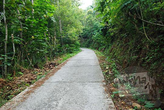 kondisi jalan menanjak menuju desa benowo di purworejo