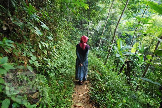 perempuan pakai rok dan jilbab sedang berjalan kaki di dalam hutan