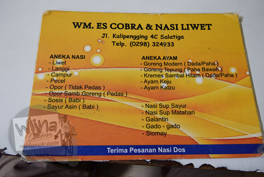 daftar menu harga makanan warung es cobra salatiga