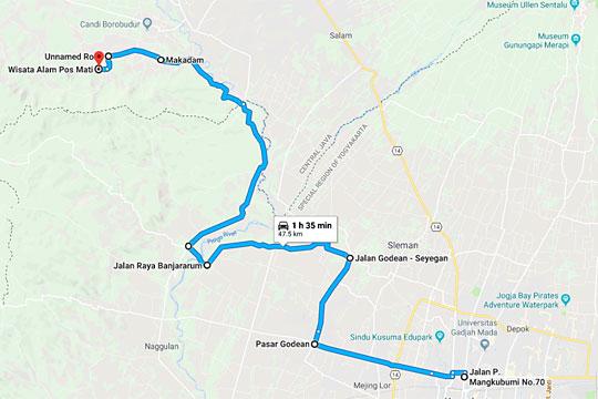 peta rute jalan tersingkat dari kota jogja ke obyek wisata pos mati di borobudur magelang