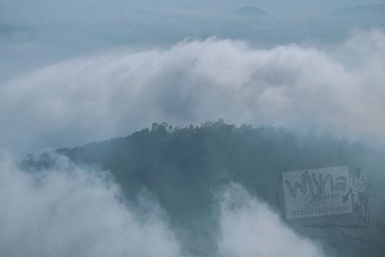 pemandangan bukit tertutup kabut dari punthuk sukmojoyo borobudur