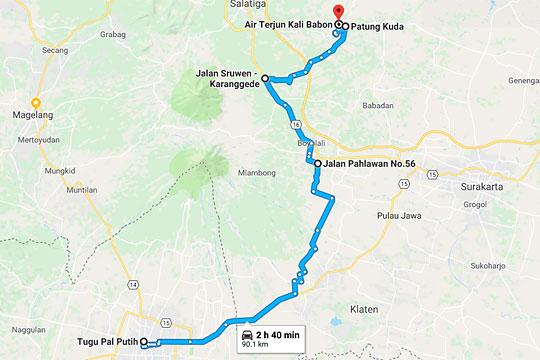 peta rute ke grojogan kali babon suruh semarang