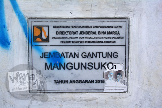plakat peresmian jembatan mangunsuko di kecamatan dukun kabupaten magelang jawa tengah