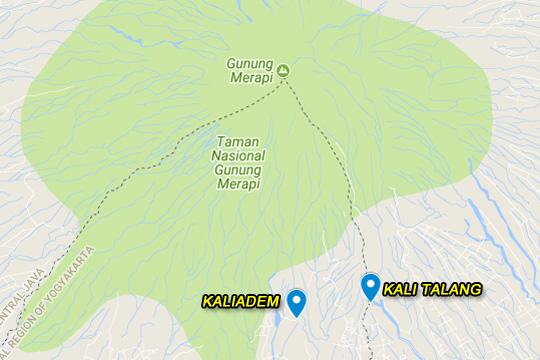 peta lokasi perbedaan kaliadem di cangkringan yogyakarta dan kali talang di balerante klaten