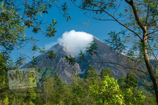 pemandangan indahnya gunung merapi dikelilingi dahan ranting pohon akasia di hutan kali talang balerante kemalang klaten jawa tengah pada zaman dulu april 2018