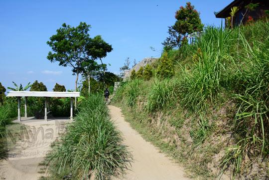 jalan setapak naik ke bukit candi sari di cepogo boyolali pada zaman dulu Agustus 2017