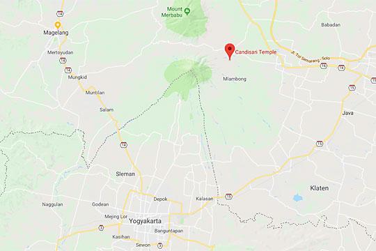 peta rute perjalanan ke candi sari di cepogo boyolali dari kota yogyakarta