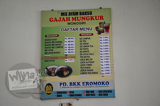 harga daftar menu warung mie ayam gajah mungkur wonogiri