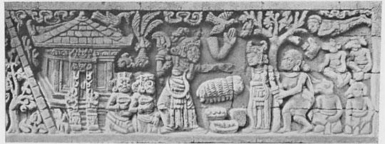 relief kisah sudamala yang menampilkan tokoh ra nini pada zaman dulu di candi tegowangi