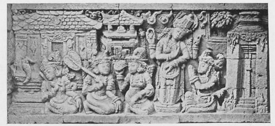 relief kisah sudamala yang menampilkan tokoh batara guru pada zaman dulu di candi tegowangi