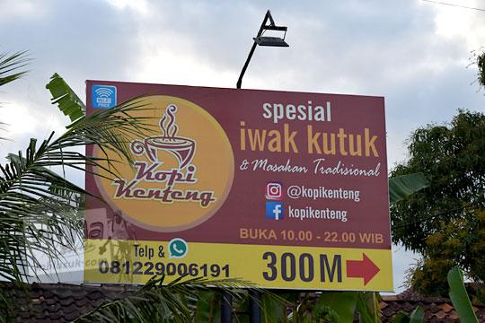papan nama rumah makan kopi kenteng di kecamatan nanggulan kulonprogo yogyakarta
