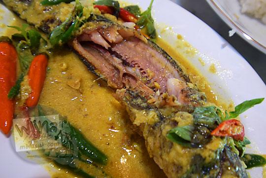 daging ikan berwarna merah di mangut ikan gabus kopi kenteng di kecamatan nanggulan kulonprogo yogyakarta