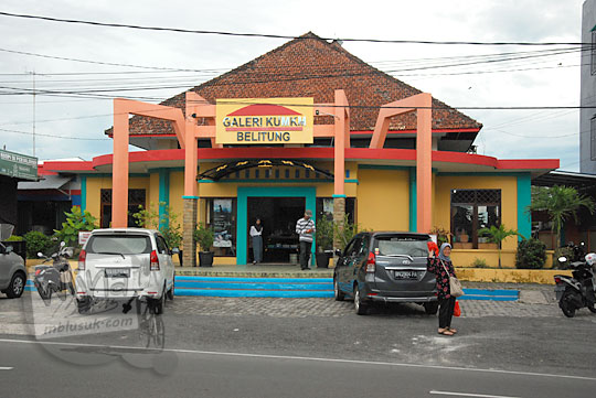 alamat tampak luar Bangunan gedung Galeri KUMKM Belitung di Jalan Sriwijaya Kota Tanjung Pandan pada zaman dulu Maret 2016