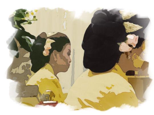 ilustrasi pengantin wanita di upacara malam midodareni pada malam sebelum nikah
