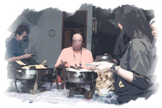 ilustrasi acara makan-makan keluarga pada malam sebelum nikah