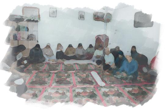 ilustrasi pengajian doa bersama di masjid musala pada malam sebelum nikah