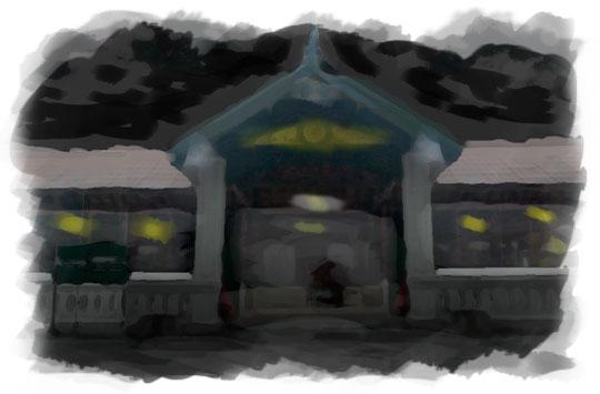 ilustrasi gerbang masjid gedhe kotagede pada malam sebelum nikah