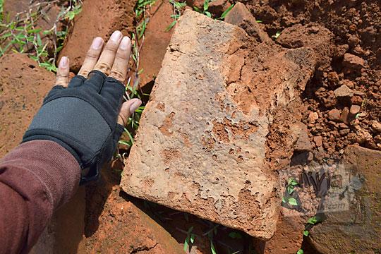perbandingan ukuran batu bata kuno dengan tangan pria dewasa di situs candi abang, berbah, sleman, yogyakarta pada Januari 2018
