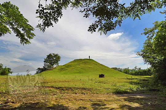 pemandangan dedaunan di situs candi abang, berbah, sleman, yogyakarta pada Januari 2018