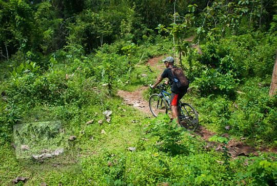 pria bersepeda di hutan belakang candi ijo, sambirejo, prambanan pada zaman dulu April 2017