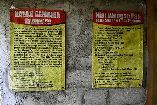 spanduk berisi sejarah dan garis keturunan kiai wongso pati di dusun nglepen sumberharjo prambanan