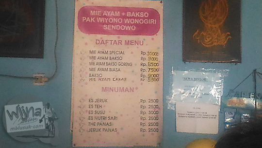 daftar harga menu warung mie ayam wiyono sendowo