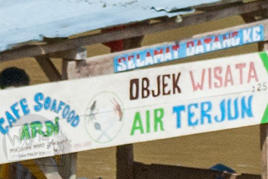 foto papan selamat datang di objek wisata air terjun panisan di desa tanjung kecamatan koto kampar hulu riau pada zaman dulu April 2016