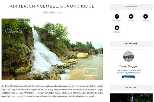 artikel blog air terjun ngembel di wonosari yang ditulis oleh achmad maulana alias alan nobita kriwil-kriwil
