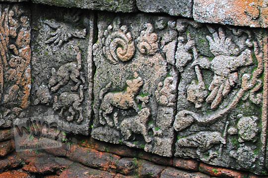 relief cerita kura-kura terbang di dinding kolam petirtaan candi penataran