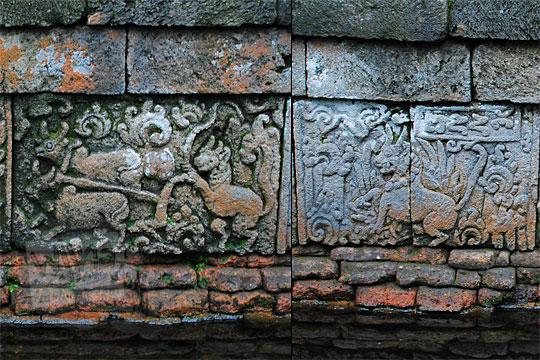 relief singa kehilangan kesaktian di dinding kolam petirtaan candi penataran
