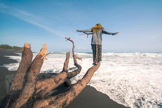 wanita berdiri di bangkai pohon pantai bugel kulon progo
