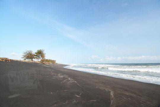 pemandangan suasana sepi hamparan pasir pantai bugel kulon progo